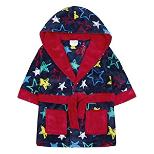 Baby Dressing Gown Super Soft Plush Fleece from 6 Months to 18 Months Boy Girl 18-24 Months, Blue Star Hooded Robe
