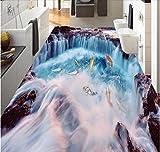 Weaeo 3D Pvc-Bodenbelag Benutzerdefinierte Fototapete Wandaufkleber Der Wasserfall Karpfen Malerei Bild Zimmer Tapete Für Die Wände 3D-200X140cm