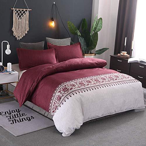 YLYX Vintage Ethnische Bettwäsche Bettbezug Mit Reißverschluss Blumen Gedruckt Bettwäsche Set Exotische Bettwäsche Set Für 1/2 Personen,Red,150x200cm+1x50x66cm
