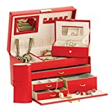 Duchess Red Bonded Leather Jewellery Box with separate Traveller and Jewellery Roll