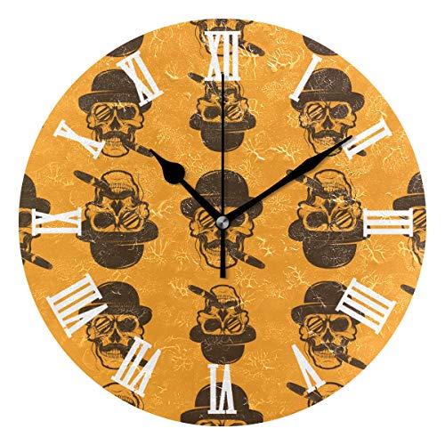 SUNOP Orologio per Bambini Orologio Olio Stampato 1Teschio con Sigaro, Orologi da Parete per Soggiorno, Camera da Letto e da Cucina Vintage e ripiano, Orologi