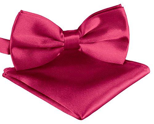 Fliege Schleife in Pink verstellbar Unisex für Herren Damen Jugendliche + Einstecktuch in Pink