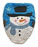 YiyiLai 43*48cm Schneemann Design Toilettendeckelbezug Weihnachtsschmuck Weihnachtsdeko Toillete Set Sitzbezug Weihnachten Blau A