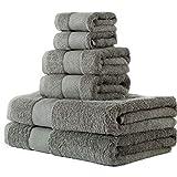 BUNDMAN Set Asciugamani 2 Asciugamano da Bagno Grandi 2 Asciugamani Viso Mani e 2 Mini-Asciugamani in Cotone Morbido Asciugamani Ospite Asciugamano Set di 6 Pezzi per Bagno Hotel, Grigio