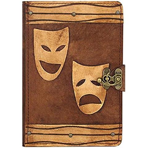 """A Little present """"Happy triste Maschera decorativa con supporto con copertina rigida stile Vintage, in vera pelle, A libro con chiusura Flip, per iPad Air/Air2, colore: marrone"""