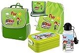 Mein Zwergenland Set 6 Kindergartenrucksack mit Brotdose, Turnbeutel aus Baumwolle, Trinkflasche und Brustbeutel Happy Knirps Next mit Name Feuerwehr, 5-teilig, Grün