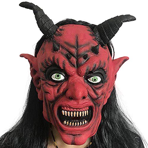 Beängstigend Kostüm Ratte - Halloween Horror Masken Grusel Maske,Für Halloween-Kostüm-Party-Männer Masken Beängstigend Dämon Teufel Horn Latex Masken Halloween