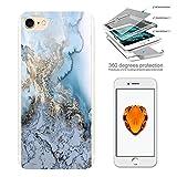 003228 - Fun Bloggers Marble Effect Design iphone 5 5S /SE Komplett 360° Grad Vollschutz Schild Hülle Front&Back Hüll