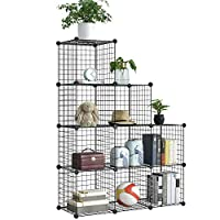 BRIAN & DANY 9-Cube Wire Storage Cubes, DIY Wire Grid Bookcase, Multi-Use Modular Storage Shelving Rack, Black