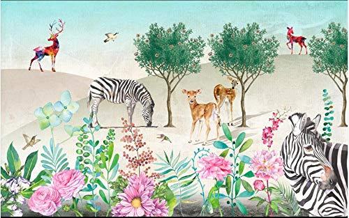 Couture Zebra (HDOUBR Papier peint personnalisé Photo 3D peintures murales Papier peint Pour MURS 3 d Idyllique frais zèbre frais Wapiti Salon de la forêt peinture murale 250x175 cm (98,4 x 68,9 in))