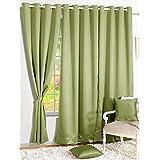Story@Home Premium Blackout Solid 2-Piece Faux Silk Door Curtain Set - 7ft, Light Green