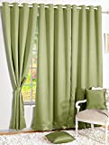 Story@Home Premium Blackout Solid 2-Piece Faux Silk Door Curtain Set - 7ft, Light