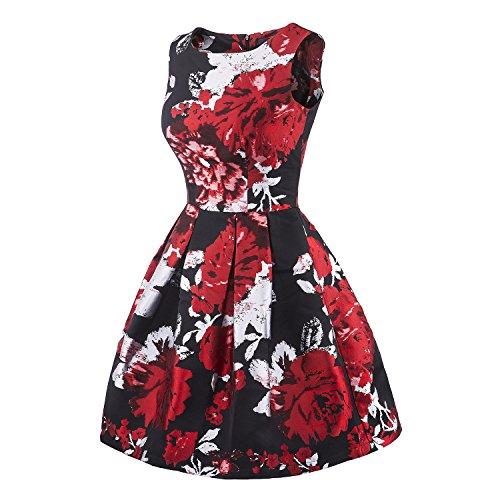 iLover Vintage Audrey Hepburn robe de soirée cocktail bal style années 50 Rockabilly Swing Mini robes red