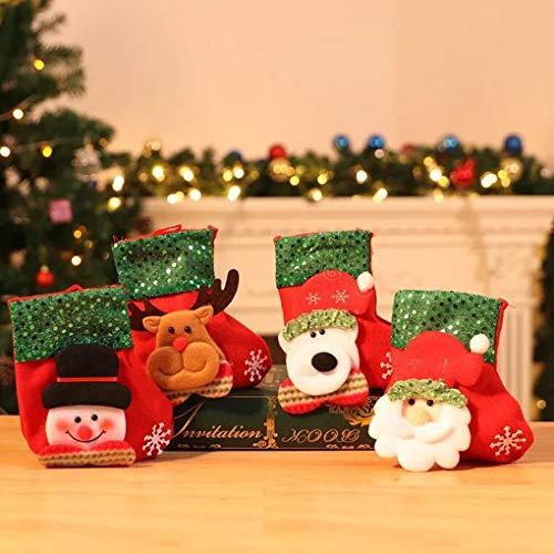 TOYESS 4Pcs Weihnachten Weihnachtsstrümpfe Socken für Zuckerbeutel Geschenk,Nikolaus-Strumpf,Filzstrumpf & Weihnachtssocke zum Befüllen und Aufhängen,Weihnachtsbaum Dekor(Pailletten)
