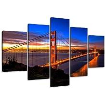 Visario 5512 San Francisco Golden Gate - Fotografía sobre lienzo (5 partes, 160 cm)