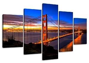 Visario 5512 Ensemble de 5 tableaux San Francisco Golden Gate Bridge 160 cm