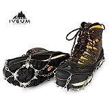 IVEUM Steigeisen für Bergschuhe - hochwertige Spikes für Schuhe in Größe 34-47 - Optimaler Halt zu jeder Situation im Winter