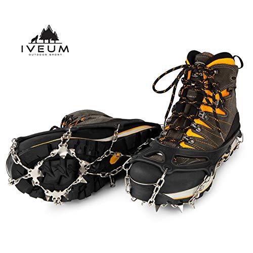 IVEUM Steigeisen für Bergschuhe - hochwertige Spikes für Schuhe in Größe 34-47 - Grödel - Optimaler Halt zu jeder Situation im Winter - XL