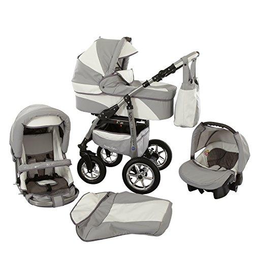 Ferriley & Fitz Daytona Eco Leder Kinderwagen Komplettset (Autositz & Adapter, Regenschutz, Moskitonetz, Getränkehalter, Schwenkräder) 81 Grau Weiß Leder