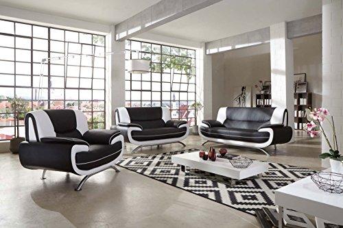 Sam Stilvolle Sofa Garnitur Passero Combi 3 2 1 Schwarz Weiß