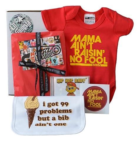Bavoir bébé Boîte Cadeau 99problèmes Hiphop bébé Berceuse CD & Mama Ain't Raisin sans Fool Body Rouge–6–12mois