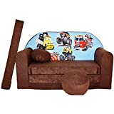 Kindersofa Bettfunktion 3in1 Sofa Kindersessel Ausziehbett Bett (K14 braun Autos groß)