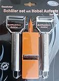 Schäler Set 3-teilig Multifunktions Schäler mit gezahnter Klinge, Julienne Schäler & Hobel Aufsatz auf Blisterkarte