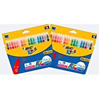 BIC Kids Kid Couleur Feutres de Coloriage à Pointe Moyenne - Couleurs Assorties, Lot de 2 Etuis Carton de 18