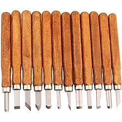 LIVEHITOP Cinceles Madera Set, 12 piezas Escultura Cincel DIY Tallado Cuchillo Herramientas para Madera Apretón Cera Artesanía Escultor Amateur