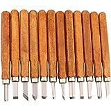 LIVEHITOP 12 Conjunto de acero al carbono de madera herramientas de talla, cera de agarre de bricolaje talla del grabar artesanía cincel cuchillo para la escultura. (12 piezas)