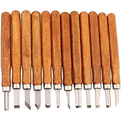 LIVEHITOP Cinceles Madera Set, 12 piezas Escultura Cincel DIY Tallado Cuchillo Herramientas para Madera Apretón Cera Artesanía Escultor