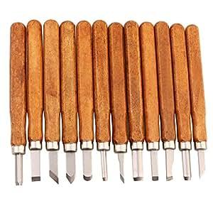livehitop ciseaux bois sculpture 12 pi ces set professionnel main gravure sur bois couteau. Black Bedroom Furniture Sets. Home Design Ideas