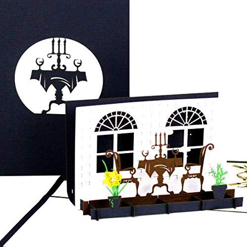 """Pop Up Karte\""""Candlelight Dinner\"""", Geburtstagskarte & Einladungskarte ins Restaurant - als Geschenkgutschein Gastro, Gutschein Kochen, Geburtstagskarte, Geschenkverpackung oder Geldgeschenk"""
