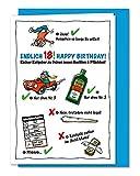 Lustige und freche XL Geburtstagskarte zum 18. Geburtstag, zur Volljährigkeit, Karte zum 18., zum Erwachsen werden - inklusive Umschlag (DIN A5)