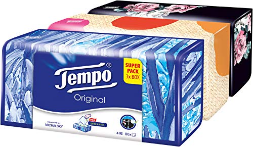 Tempo Taschentücher Original Trio-Box, 4-lagige Tempos in praktischer Tücherbox mit tollem Design, 3 x 80 Tücher (240 Tücher) - Wohnung-muster-design