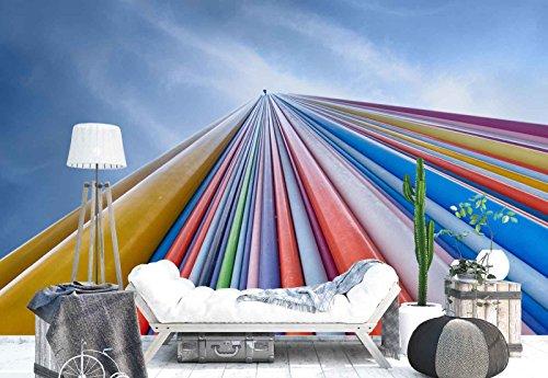 Papel Tapiz Fotomural - Tubi Colorati In Fibra Di Vetro Camino - Tema Architettura - CAMPIONE - 104cm x 70.5cm (LxA) - 1 Strisce - Carta da murale di prima qualità 130gsm EasyInstall - 1X-760093VEM