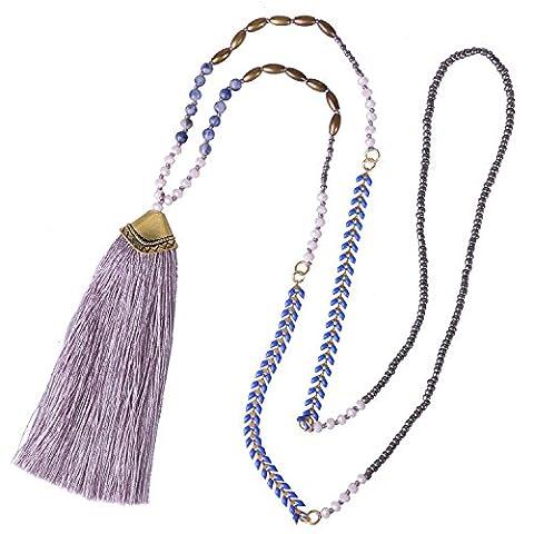 KELITCH Gräte Form Perlen Kristall Amazonite Handmade Lang Kette mit Muschel Form Metall Quaste Anhänger, Lila
