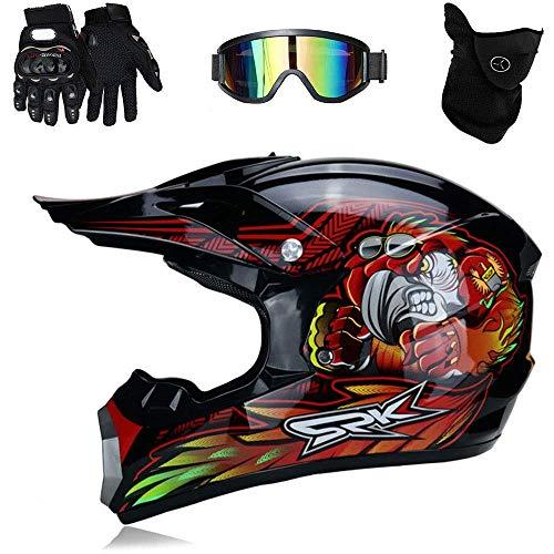 Preisvergleich Produktbild Helm Motorrad ATV ADV UTV Motorrad Sportschutzhelm Offroad D.O.T Ausdauer Zertifizierung Sicherheit,  mit Okular / Handschuhe / Maske (Color : Red,  Size : M(54~55cm))