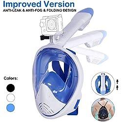 Unigear Masque de Plongée, Masque Snorkeling Plein Visage 180° Visible, Antibuée Anti-Fuite sous-Marine, Snorkel Masque avec le Support pour Caméra de Sport, Adapté pour Adulte et Enfant (Blanc, L/XL)