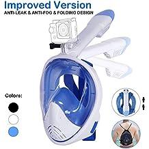 Unigear Máscara De Buceo 180° Vista Panorámica Máscara Facial Completa Con Soporte Para Cámara Deportiva Tubo Respirador Plegable Más Larga Fácil ...