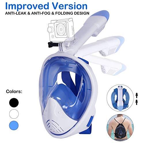 Tauchmaske, Faltbare Schnorchelmaske Tauchermaske Vollgesichtsmaske, mit 180 Grad Blickfeld und Kamerahaltung, Anti-Fog Anti-Leck Easybreath, für Erwachsene und Kinder (Weiß, L/XL)