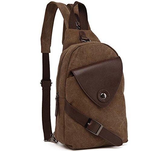 gendi Vintage da donna, in tela petto borsa zaino zaino trekking, blu marrone