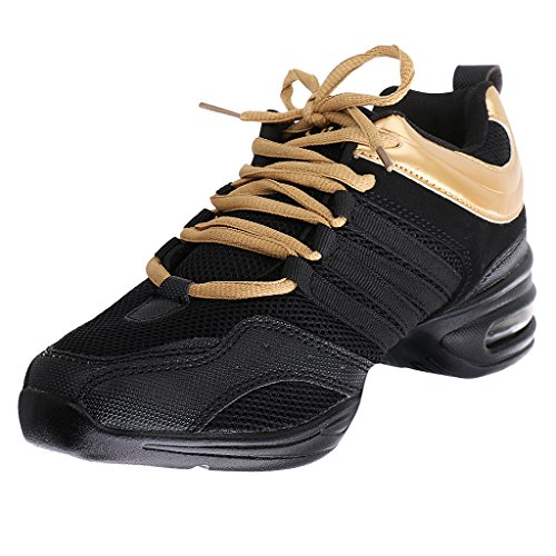Generic Donne Jazz Ballo Danza Hip Hop Sport Scarpe Da Tennis - Nero + Oro, 37