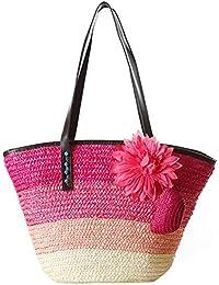 TOOGOO(R) Knitted Straw Bag Summer Flower Bohemian Fashion Women's Handbags Color Stripes Shoulder Bags Beach...