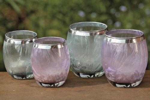 2 x bezaubernde Windlichter Rubi klein im Set Glas Teelichthalter Kerzenhalter Vase