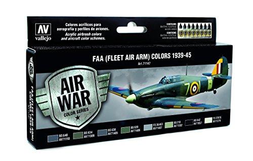 Vallejo 'RAF & Faa Fleet Air ARM 1939-114,3cm Model Air kit di colori, 8 Pezzi