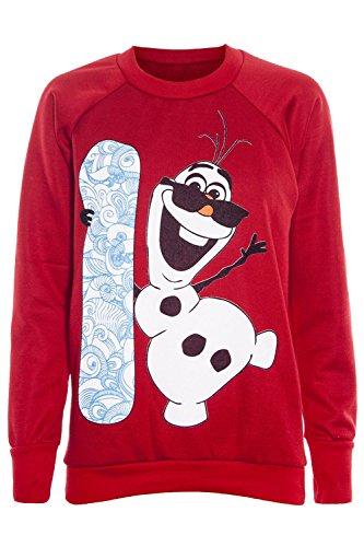 Damen Weihnachten Eiskönigin Olaf Ich Mag Warm Hugs Minion Sweatshirt Oberteile Olaf mit Surfbrett rot - gestrickt weich