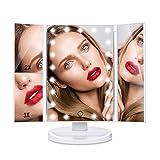 HAMSWAN SM217-DL 3 Seiten Make-up-Spiegel Kosmetikspiegel Schminkspiegel Rasierspiegel Touchscreen mit 21 LED-Beleuchtung faltbar dimmbar 180 Grad einstellbar Drehung 1X 2X 3X Vergrößerungsspiegel für Home Beauty Verbesserung (weiß)