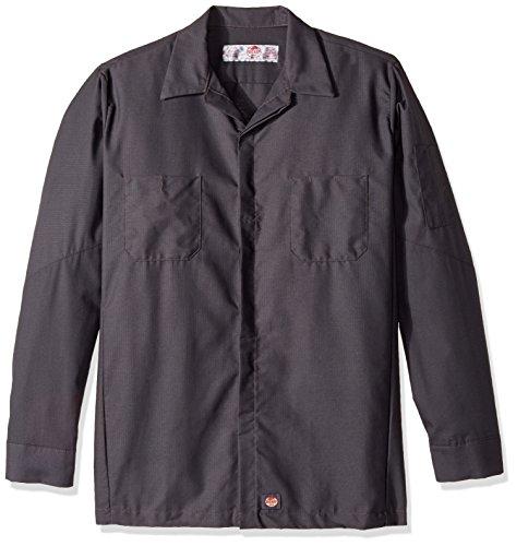 Red Kap Men's Big and Tall Ripstop Long-Sleeve Crew Shirt, Charcoal, 3X-Large - Big And Tall Long Sleeve Work Shirt