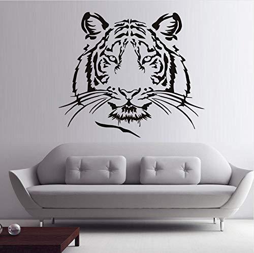 (Knncch Tiger Head Silhouette Wandaufkleber Wild Animal Home Decor Große Katze Vinyl Klebstoff Abnehmbare Decals Kunst Wandbild)